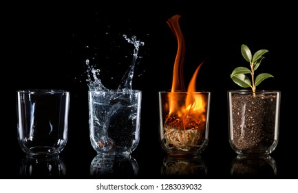 4 elements embodied as a concept in drinking glasses on black background, air, water, fire, earth