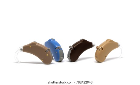 4 Favorite color of Hearing Aid isolated on white background.