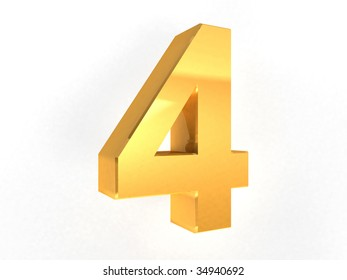 4 - four Gold Number on white background - 3d image