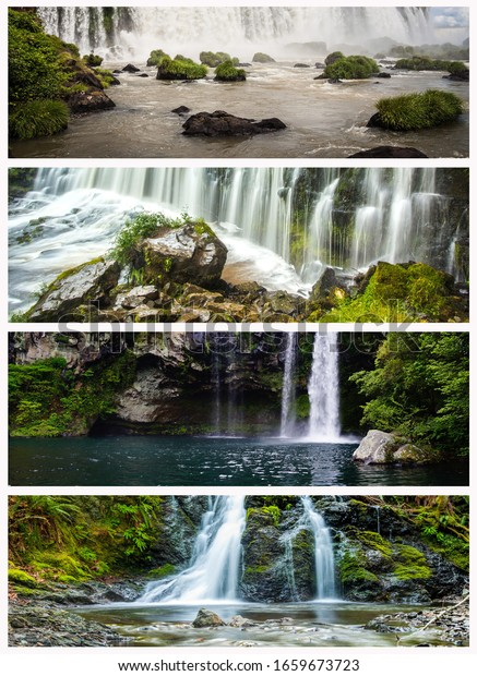 4 individual waterfalls in breathtaking nature