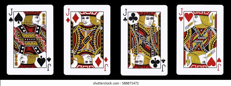 4 Jack in a row - Playing Cards, Isolated on black