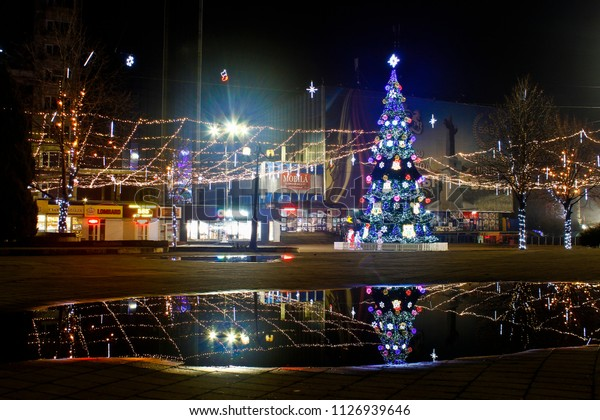 4 January, 2018, Balti, Moldova, night city decorated with garlands and lights during the new year and Christmas holidays