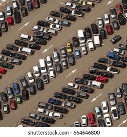 4 June 2017, Beverwijk, Netherlands. Aerial view of long rows with coloured cars at a full parking lot at the Bazaar.
