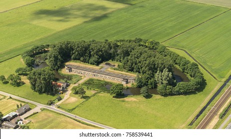 4 June 2017, Uitgeest, Holland. Aerial view of Fort aan den Ham of the Defence Line Stelling van Amsterdam It is part of the Hollandse Waterlinie and a UNESCO World Heritage Site.