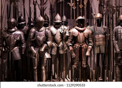 4 JUNE 2018, MILAN, ITALY: Museum of the Poldis Pezzoli Knights' Hall with samples of medieval weapons and ammunition