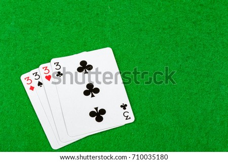 4 of a kind playing cards Threes