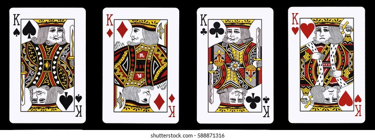 4 Kings in a row - Playing Cards, Isolated on black
