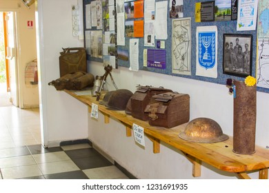 4 May 2018 A few artefacts from the Yom Kippur war on display at the Kibbutz Elrom on the occupied Golan Heights in Israel