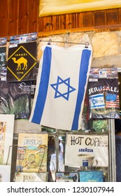 4 May 2018 An Israeli Flag holiday souvenier on display in a small gift shop in the banais Nature Reserve in Golan Israel