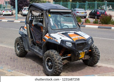 4 May 2018 A Polaris Razor off road petrol power vehicle parked on the main street of Buqata a small Druze Arab town in the Golan Heights North Israel