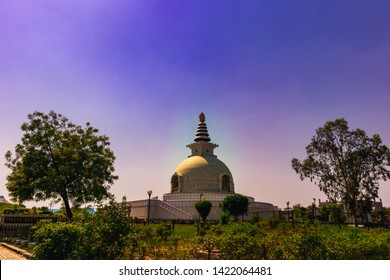 4 May 2019; an Indian landmark - Vishwa Shanti Stupa, also known as the World Peace Pagoda on a blue sky background at midday, New Delhi, India.