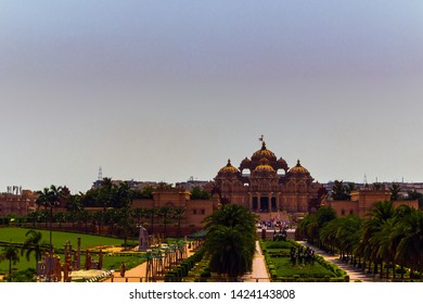 4 May 2019; View from a far away distance on the Akshardham Temple in New Delhi, India at midday.