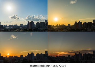4 Moments of Sunset, view of the Downtown Singapore skyline from day to night with clouds, Singapore Asia