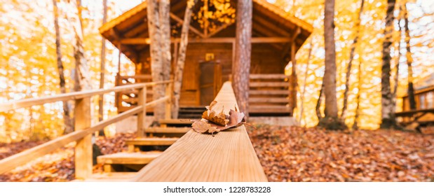 4 November 2018, Bolu-Turkey: Beautiful autumn views with wooden house in (seven lakes) Yedigoller National Park. Bolu is a province in northwestern Turkey.