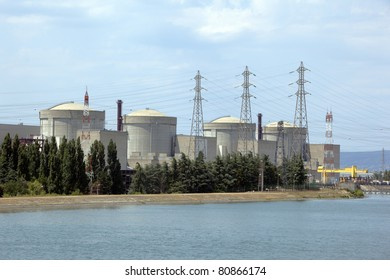4 nuclear reactors buildings in power plant of Tricastin, France