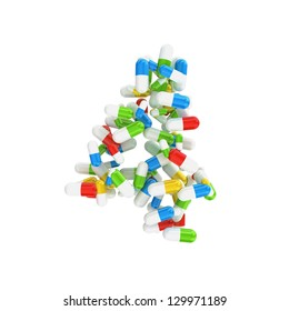 4 number made abstract with colorful pills