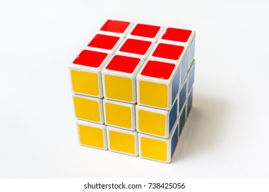 4 OCTOBER 2017 PRAGUE, CZECH REPUBLIC: Rubik's cube isolated on white background