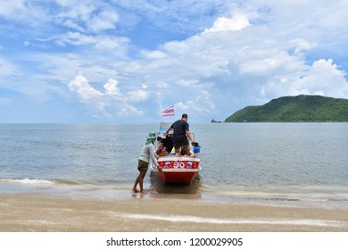 4 October 2018 Smaller tourist boats are taking tourists to cruise to the sea to travel to other islands at Phraya Nakhon Beach in Hua Hin Thailand.