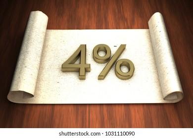 4 per cent, golden numbers, over open paper, 3d rendering