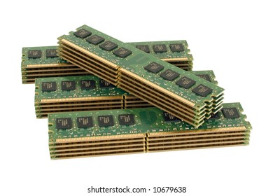 4 pile of computer memory modules, isolated