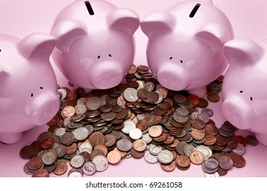 4 pink piggy banks feasting on a pile of coins