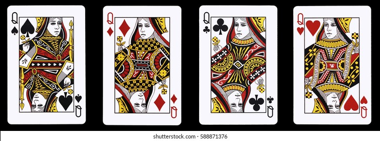 4 Queens in a row - Playing Cards, Isolated on black