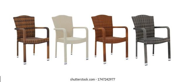 4 verdaderas sillas de ratán aisladas en diferentes colores