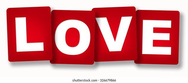 "4 red cards ""Love"" isolated over white background"