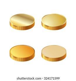 4 round gold coins. Photo illustration.