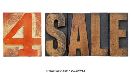 4 sale sign - isolated text in vintage letterpress wood type with red number four