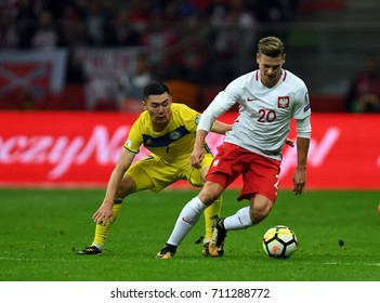 4 SEPTEMBER, 2017 - WARSAW, POLAND: Football World Cup Rusia 2018 qualification match Poland - Kazakhstano/p Aslan Darabayev (Kazachstan) Lukasz Piszczek (Poland)
