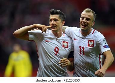 4 SEPTEMBER, 2017 - WARSAW, POLAND: Football World Cup Rusia 2018 qualification match Poland - Kazakhstano/p Robert Lewandowski (Poland) celebrates his goal Kamil Grosicki (Poland)