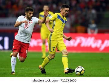 4 SEPTEMBER, 2017 - WARSAW, POLAND: Football World Cup Rusia 2018 qualification match Poland - Kazakhstano/p Maciej Makuszewski (Poland) Aslan Darabayev (Kazachstan)