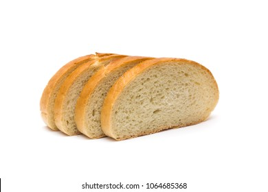 4 slices of bread on a white background, isolate