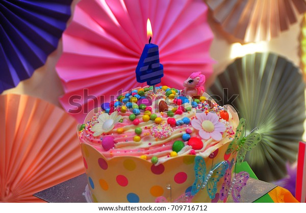 Groovy 4 Years Old Birthday Cake Candle Stock Photo Edit Now 709716712 Personalised Birthday Cards Veneteletsinfo