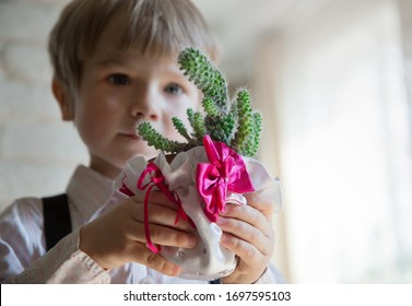 4 years old boy in shirt and suspenders holds a bright green cactus in his hands with a pink bow. the boy is out of focus. He carefully looks at the cactus, studies it. funny gift. A special bouquet