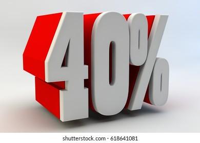 40 per cent. 3D text.