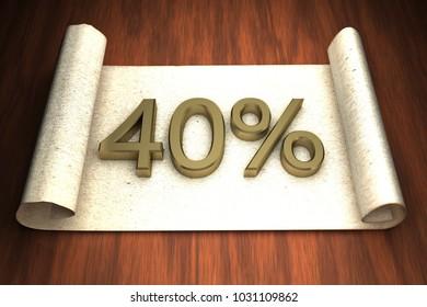 40 per cent, golden numbers, over open paper, 3d rendering
