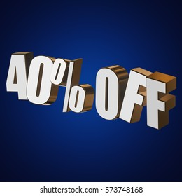 40 percent off letters on blue background. 3d render isolated.