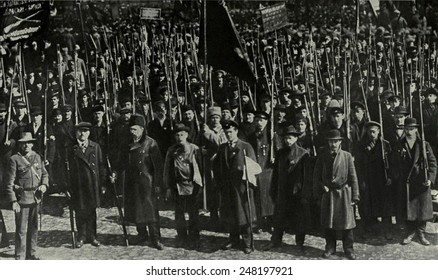 40,000 Russians were armed to defend Petrograd against the Gen. Korniloff. Aug. 1917. Lavr Kornilov, commander, attempted to overthrow Kerensky's Provisional Government with Cossack troops.