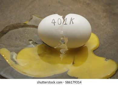 401K broken nest egg concept