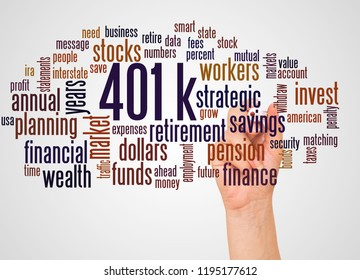 401k, word cloud and hand with marker concept on white background.  401k - retirement savings plan sponsored by employer.