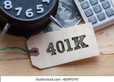 401K Word on tag with clock,dollar note and calculator,Finance Concept