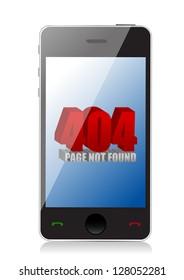 404 error on a phone illustration design over a white background