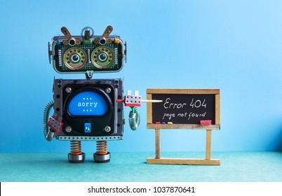 404 error page not found. Robot teacher with pointer, black chalkboard handwritten error message. Green blue background classroom interior