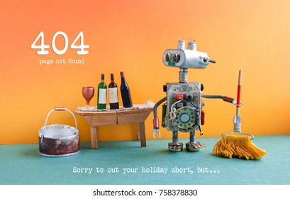 404 error page not found. Funny robot washer with mop and bucket of water, wine glass and bottles on wooden table, orange wall green floor interior