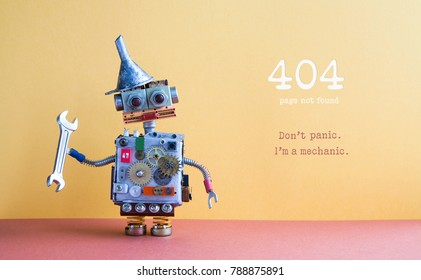 404 error page not found. Robot handyman pliers adjustable spanner on yellow red background. Fixing maintenance concept. Text message Don't panic I'm mechanic