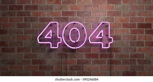 404 - fluorescent Neon tube Sign on brickwork - Front view - 3D rendered royalty free stock picture. Can be used for online banner ads and direct mailers.