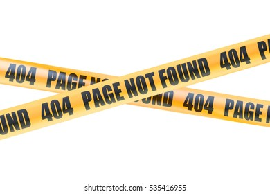 404 Not Found Caution Barrier Tapes, 3D rendering isolated on white background