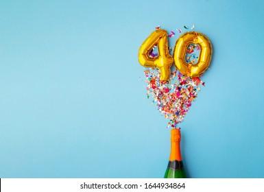 40th anniversary champagne bottle balloon pop